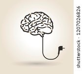 brain symbol with electrical... | Shutterstock .eps vector #1207026826