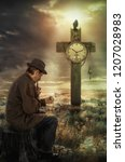 older man reflects on past time ... | Shutterstock . vector #1207028983