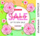 summer sale banner design with... | Shutterstock . vector #1207034119