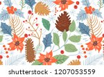christmas pattern with holly... | Shutterstock .eps vector #1207053559