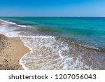 lambi beach on greek island kos ... | Shutterstock . vector #1207056043