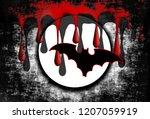 a grungy bloody halloween full... | Shutterstock . vector #1207059919