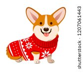 Stock vector corgi dog wearing a christmas red sweater with nordic snowflake pattern vector cartoon illustration 1207061443