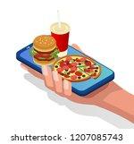 unhealthy food. burger  pizza...   Shutterstock .eps vector #1207085743