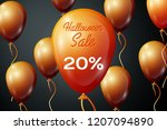 realistic orange ballons with...   Shutterstock .eps vector #1207094890