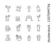 alcohol related icons  thin... | Shutterstock .eps vector #1207099756