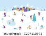 winter outdoor activities.... | Shutterstock .eps vector #1207110973