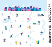 winter outdoor activities.... | Shutterstock .eps vector #1207120279
