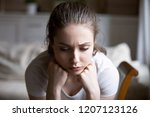 close up sad woman thinking... | Shutterstock . vector #1207123126