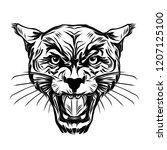 wild face tiger tattoo | Shutterstock . vector #1207125100