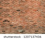 Detailed Old Red Brick Wall...