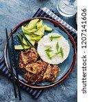 hoisin chicken. traditional... | Shutterstock . vector #1207141606