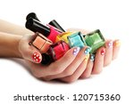 woman hands with nail polishes... | Shutterstock . vector #120715360