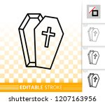 coffin thin line icon. outline... | Shutterstock .eps vector #1207163956