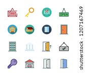 entrance icon set. vector set... | Shutterstock .eps vector #1207167469