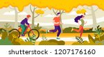 exercise people in the park for ... | Shutterstock .eps vector #1207176160