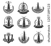 lighthouse labels and elements...   Shutterstock .eps vector #1207189123