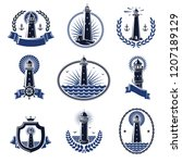 lighthouse labels and elements...   Shutterstock .eps vector #1207189129