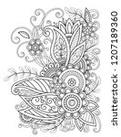adult coloring page with... | Shutterstock . vector #1207189360