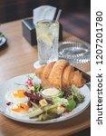 breakfast is in a cafe   Shutterstock . vector #1207201780