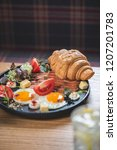 breakfast is in a cafe   Shutterstock . vector #1207201783