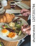 breakfast is in a cafe   Shutterstock . vector #1207201786