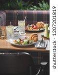 breakfast is in a cafe   Shutterstock . vector #1207201819