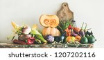 fall vegetarian food... | Shutterstock . vector #1207202116