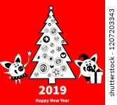 happy  new year 2019 greeting... | Shutterstock .eps vector #1207203343