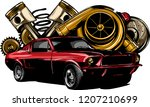 vintage car components... | Shutterstock .eps vector #1207210699