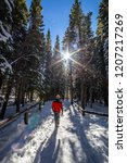red jacket hiking through snowy ... | Shutterstock . vector #1207217269