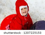 little girl in red laughing ... | Shutterstock . vector #1207225153