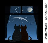 two cats sitting at the window... | Shutterstock .eps vector #1207238500