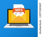 laptop with envelope and mp3...