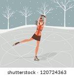 girl on skates .winter... | Shutterstock .eps vector #120724363