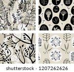 4 floral seamless patterns   Shutterstock .eps vector #1207262626