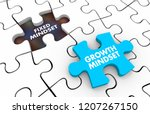 fixed vs growth mindset puzzle... | Shutterstock . vector #1207267150