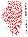mosaic map of illinois state... | Shutterstock .eps vector #1207268653