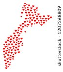 collage map of kamchatka... | Shutterstock .eps vector #1207268809