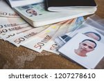 euro money banknote visa... | Shutterstock . vector #1207278610