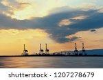 osaka seaport with crane... | Shutterstock . vector #1207278679