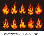 set of burning fire flame and... | Shutterstock .eps vector #1207287043