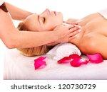 woman getting facial  massage... | Shutterstock . vector #120730729