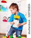 little boy playing construction ...   Shutterstock . vector #120730834
