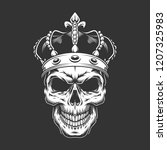 vintage king skull wearing... | Shutterstock .eps vector #1207325983