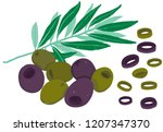 vector painterly set with black ... | Shutterstock .eps vector #1207347370