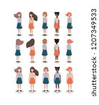group of young girls   Shutterstock .eps vector #1207349533