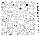 big set of hand drawn doodle... | Shutterstock . vector #1207357726