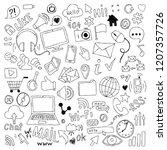 big set of hand drawn doodle...   Shutterstock . vector #1207357726