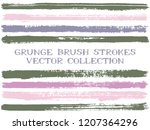 long ink brush strokes isolated ...   Shutterstock .eps vector #1207364296